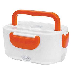 🔝 Электрический контейнер для еды, ланчбокс, с подогревом, в автомобиль, YS-001, цвет - оранжевый | 🎁%🚚