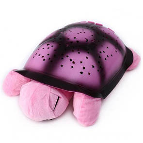 🔝 Проектор звездного неба Черепаха, детский ночник, со звуком, цвет - розовый. 20х29 см по Украине   🎁%🚚