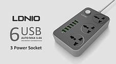 Сетевой фильтр на 3 розетки + 6 USB 3.4A SE3631 LDNIO black LDNIO, фото 2