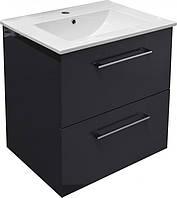 VALTICE Комплект мебели 800: тумба подвесная серая ( 2 ящика) + умывальник накладной