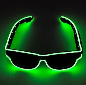 🔝 Светящиеся неоновые светодиодные LED очки, клубные, Зеленые, для дискотеки и вечеринки, с доставкой   🎁%🚚