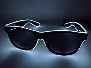 🔝 Светящиеся неоновые светодиодные LED очки, клубные, Белые, для дискотеки и вечеринки, с доставкой   🎁%🚚