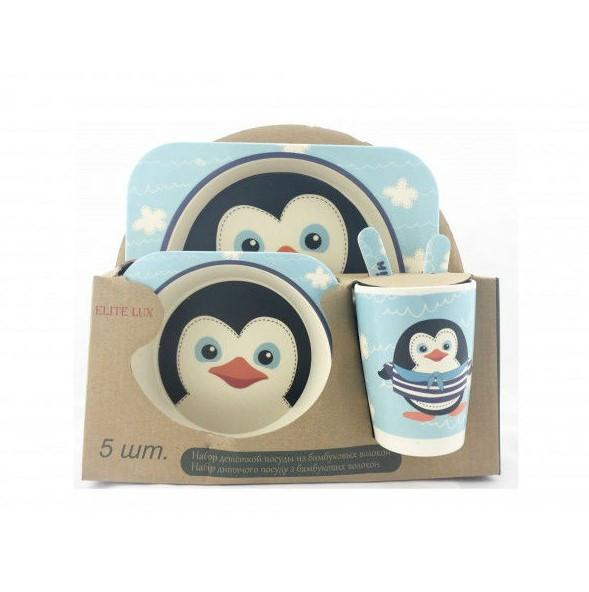 Набір дитячого посуду з бамбукового волокна Elite Lux 5 приладів Пінгвін