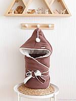"""Конверт ковдру на виписку """"Гномик"""", на трикотажі, коричневий каштан, фото 1"""