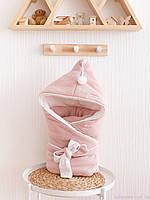"""Одеяло-конверт для новорожденного """"Гномик"""", на трикотаже, пудровый"""