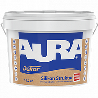 Структурная краска с силиконом для фасадов AURA Dekor Silikon Struktur 3,7 кг