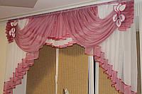 Ламбрекен шифоновый в спальню, кухню, детскую 2м №147 Малиновый