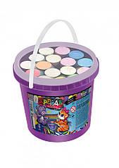 Крейда для малювання на асфальті Danko Toys у відрі 16 шт Різнобарвний (MEL-03-01U)
