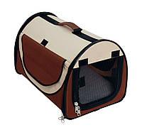 Сумка-палатка  для животного Fast&Easy,  удобно для выставок, корчневый/беж, 48x41x41см