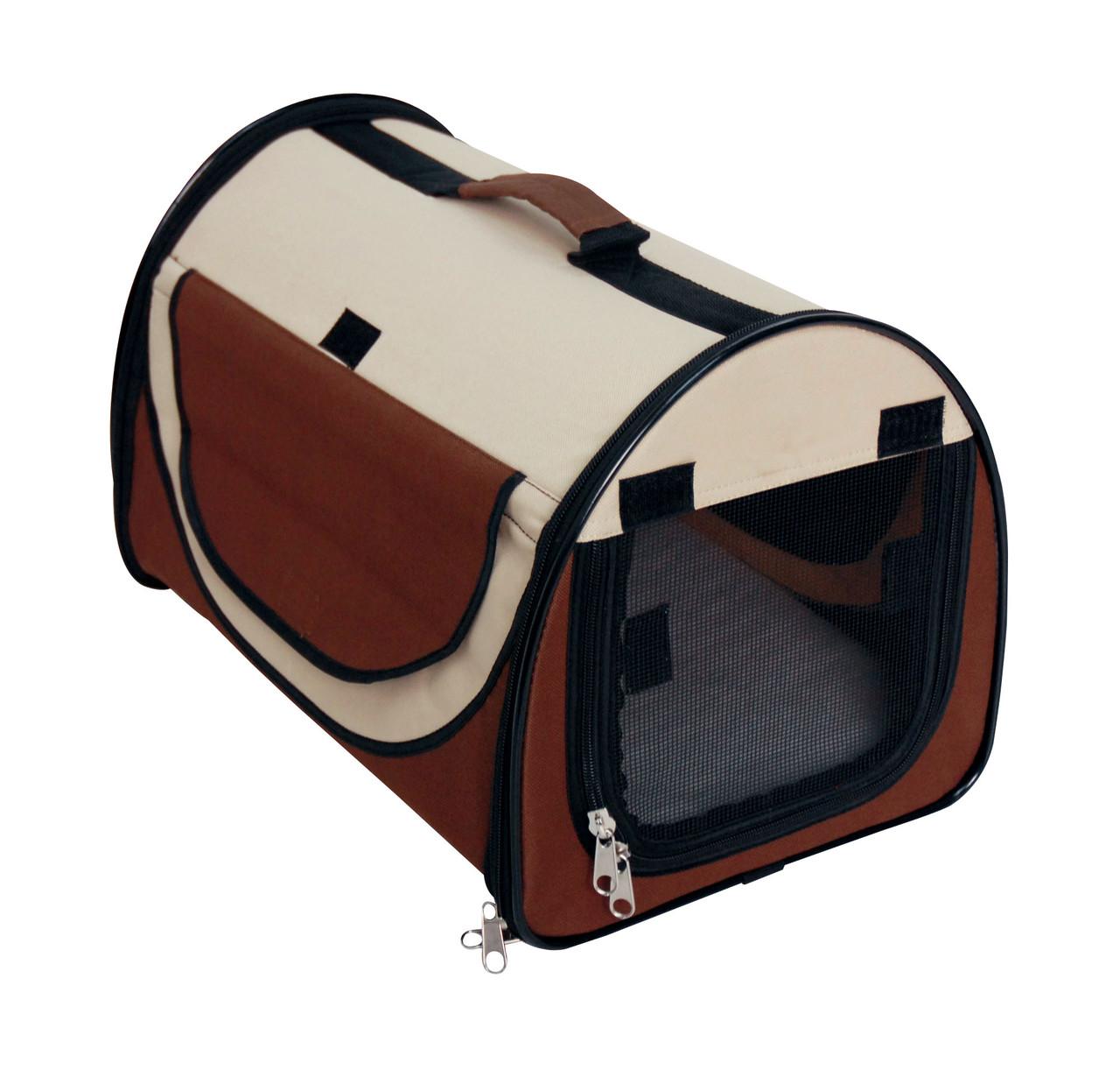 Сумка-палатка  для животного Fast&Easy,  удобно для выставок, корчневый/беж, 65x49x50см