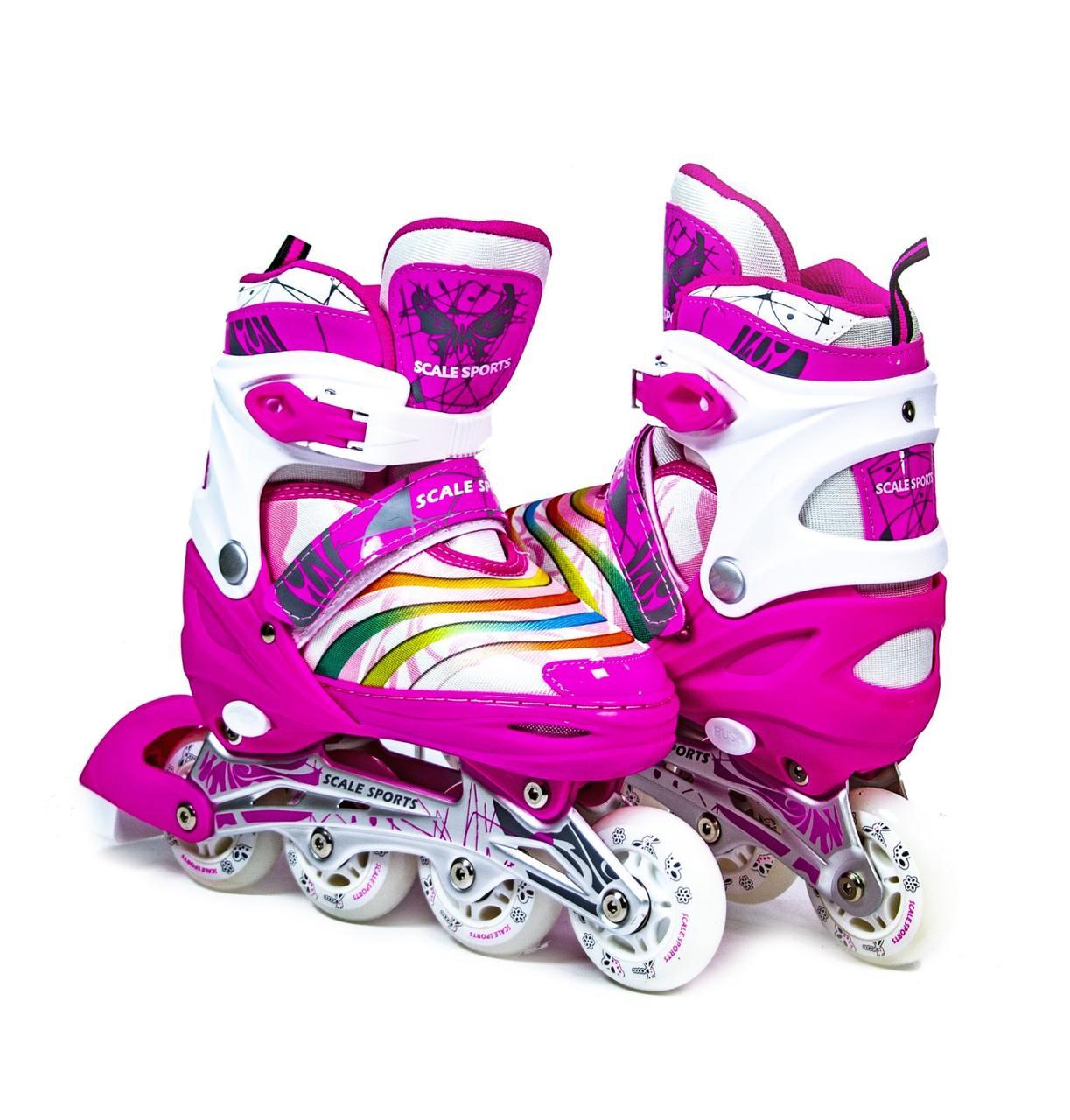 Ролики розсувні дитячі Scale Sports рожеві, розмір 38-41