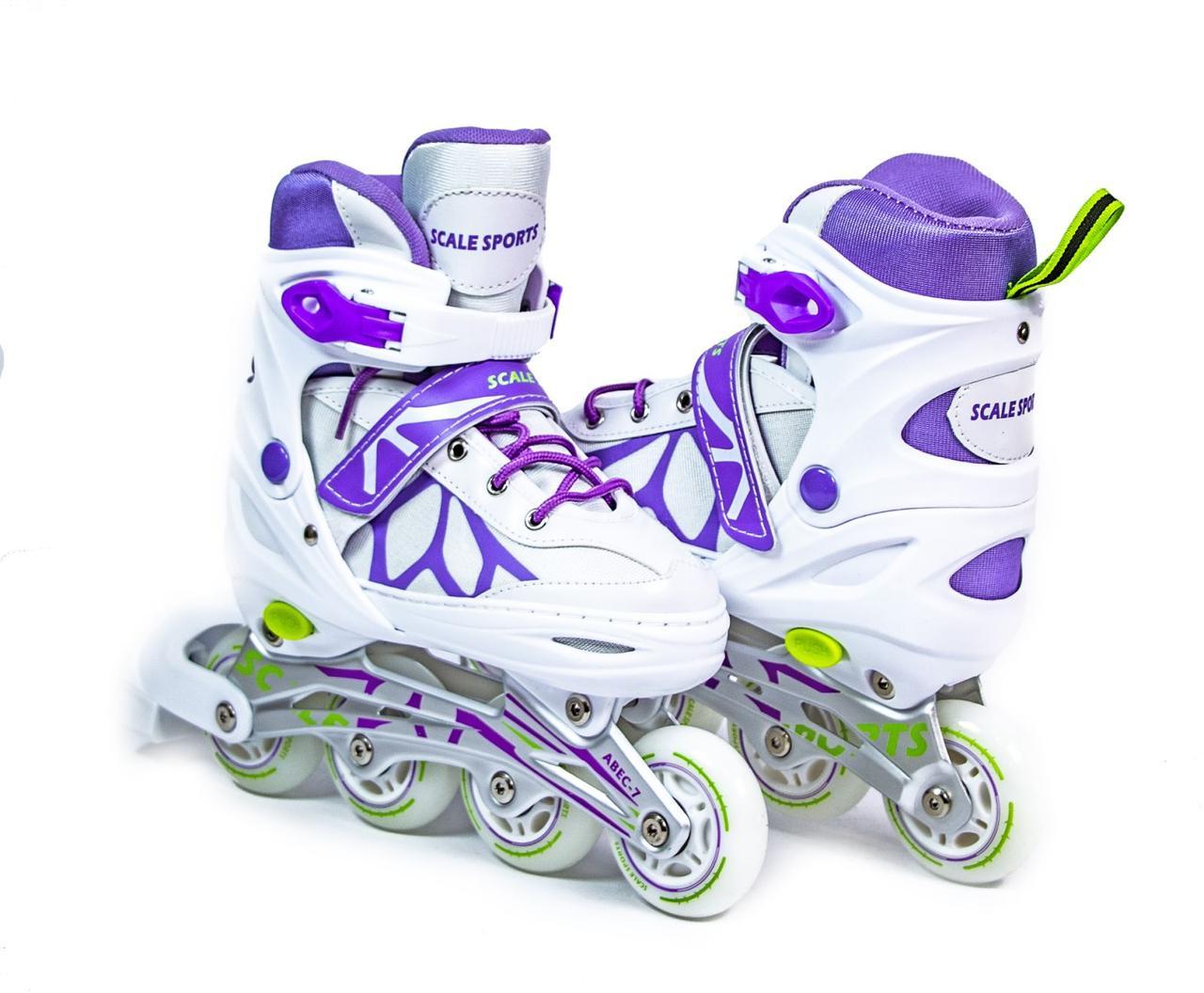 Ролики раздвижные детские Scale Sports бело-фиолетовые, размер 29-33