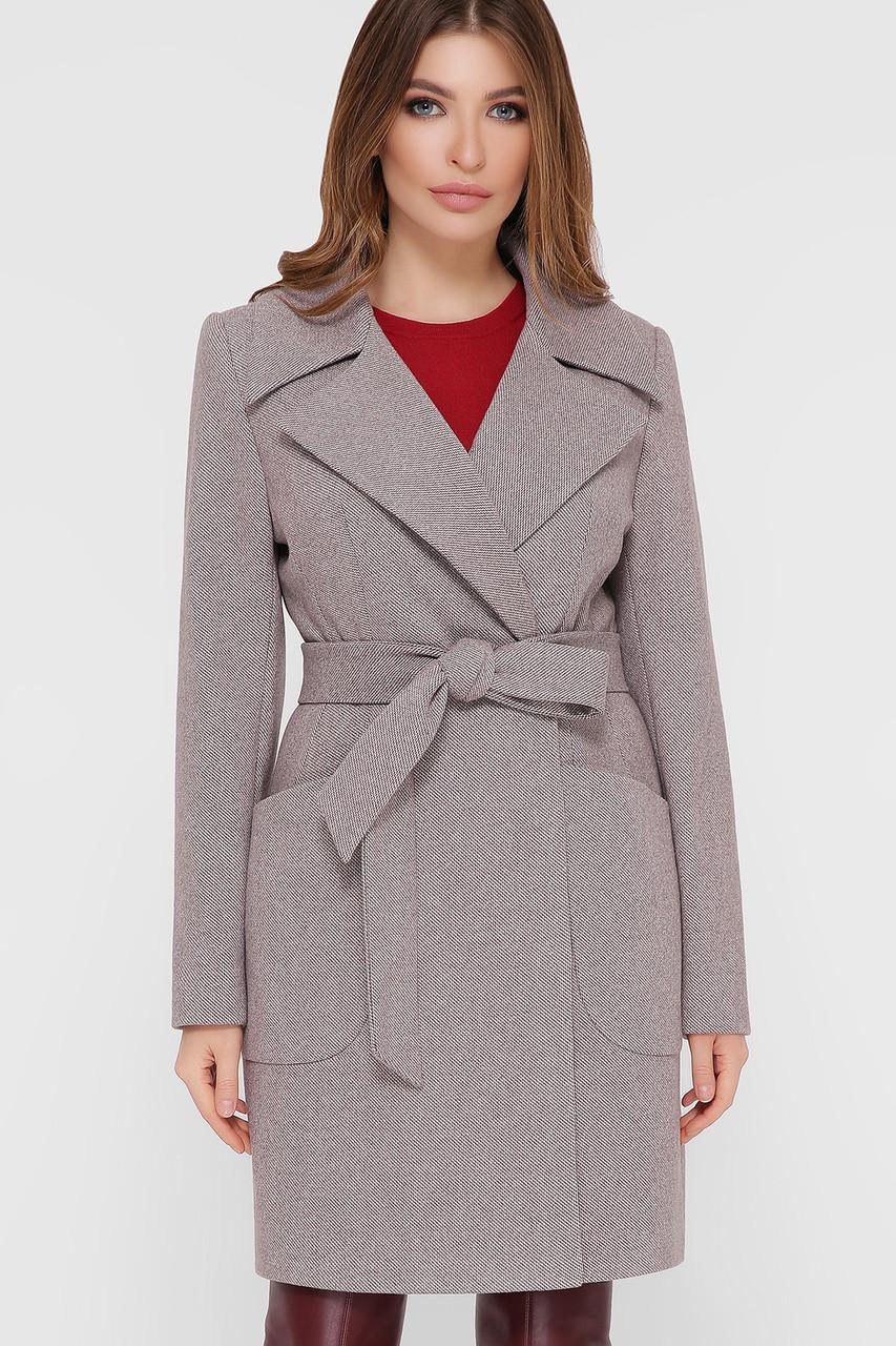 Пальто женское демисезонное с накладными карманами серое ПМ-123