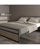 Кровать двуспальная из металла с деревом дуб. Двоспальне металеве ліжко