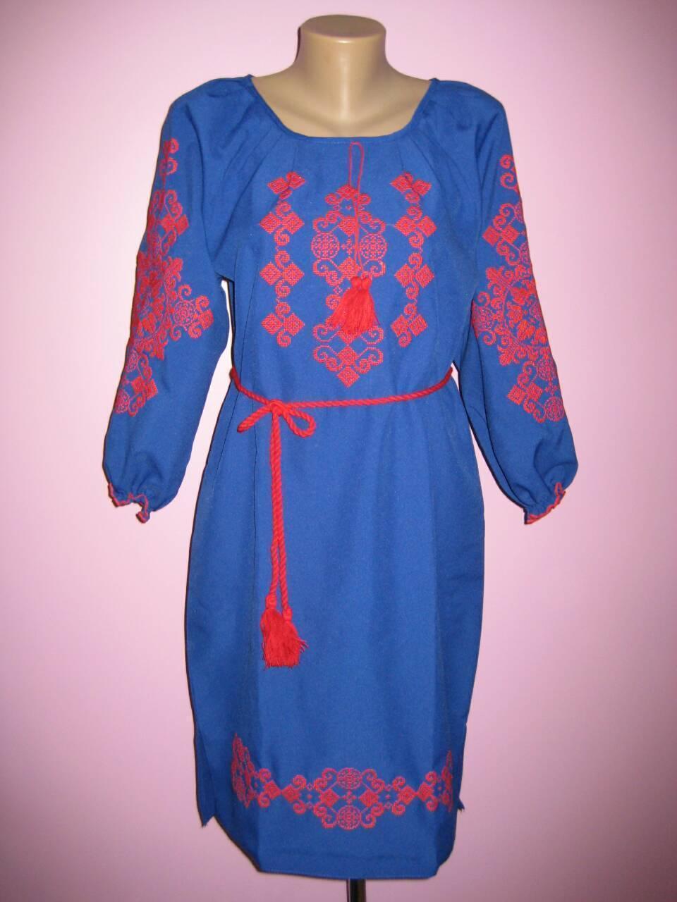 Красивое вышитое платье с орнаментом размер 46, 48, 50, 52, 54, 56
