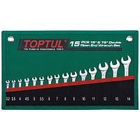 Набор ключей рожковых TOPTUL 15 шт. 3,2-14мм 15°х75° GRAJ1501