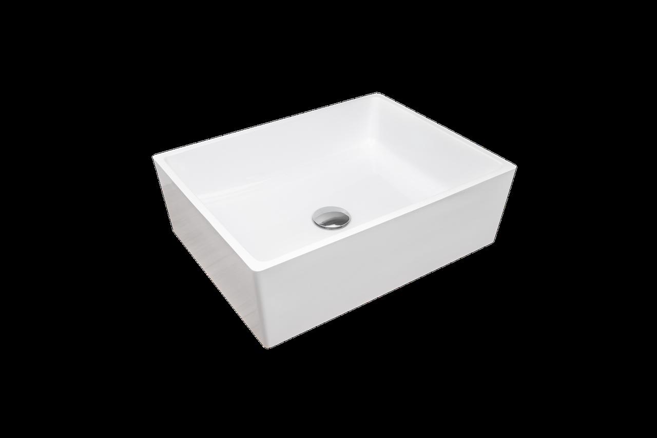 Раковина прямокутна зі штучного камню Giorgio Group Detroit 485х375х150 мм White (GG0219W1UA03)