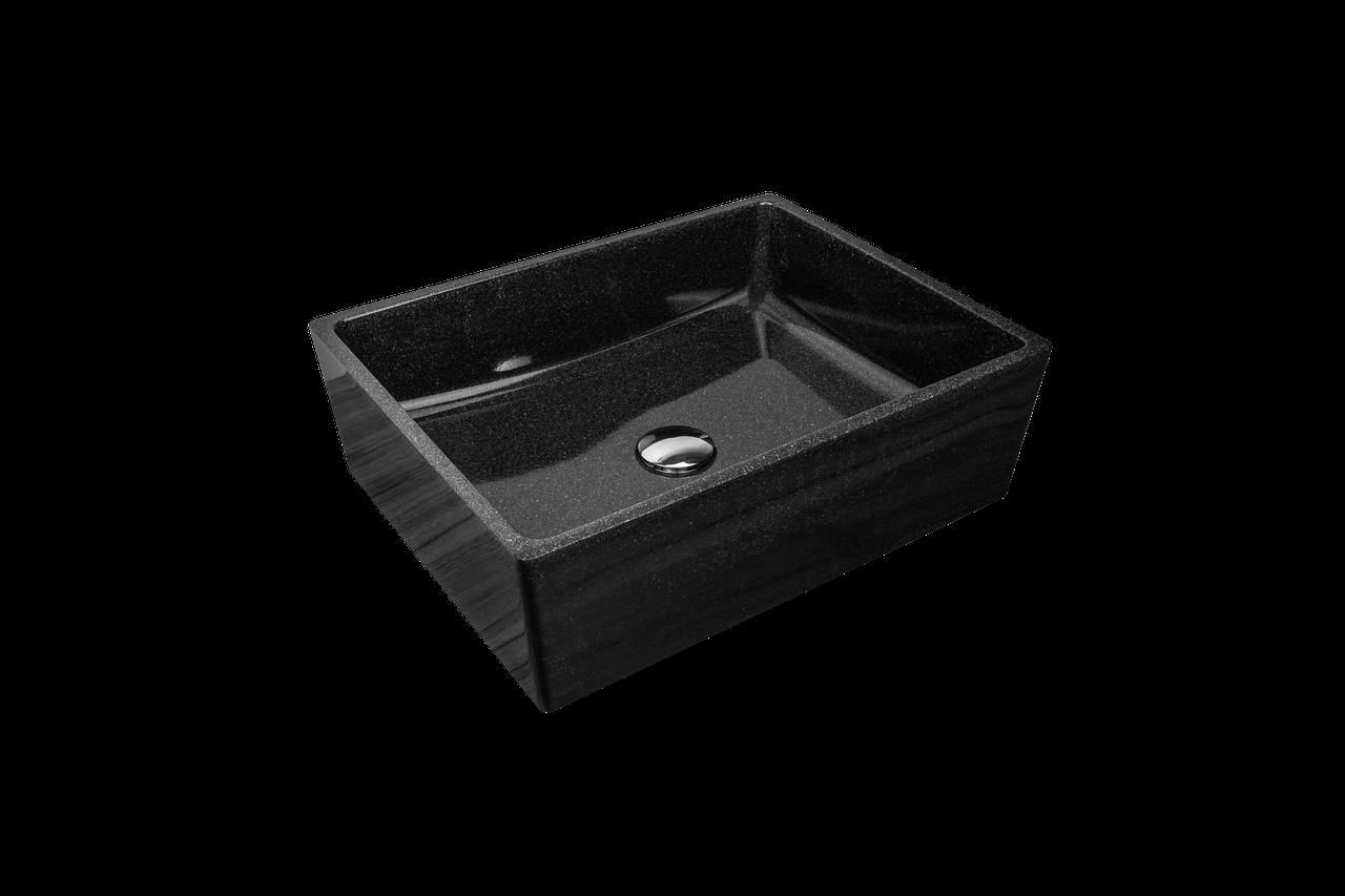 Раковина прямокутна зі штучного камню Giorgio Group Detroit 485х375х150 мм Black Onyx (GG0219B1UA03)