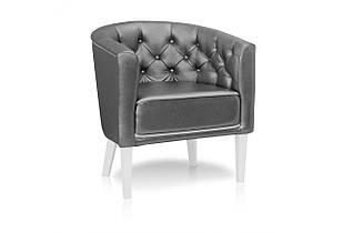 Кресло Sovalle Доминика белые ножки экокожа Серый (0448-01)