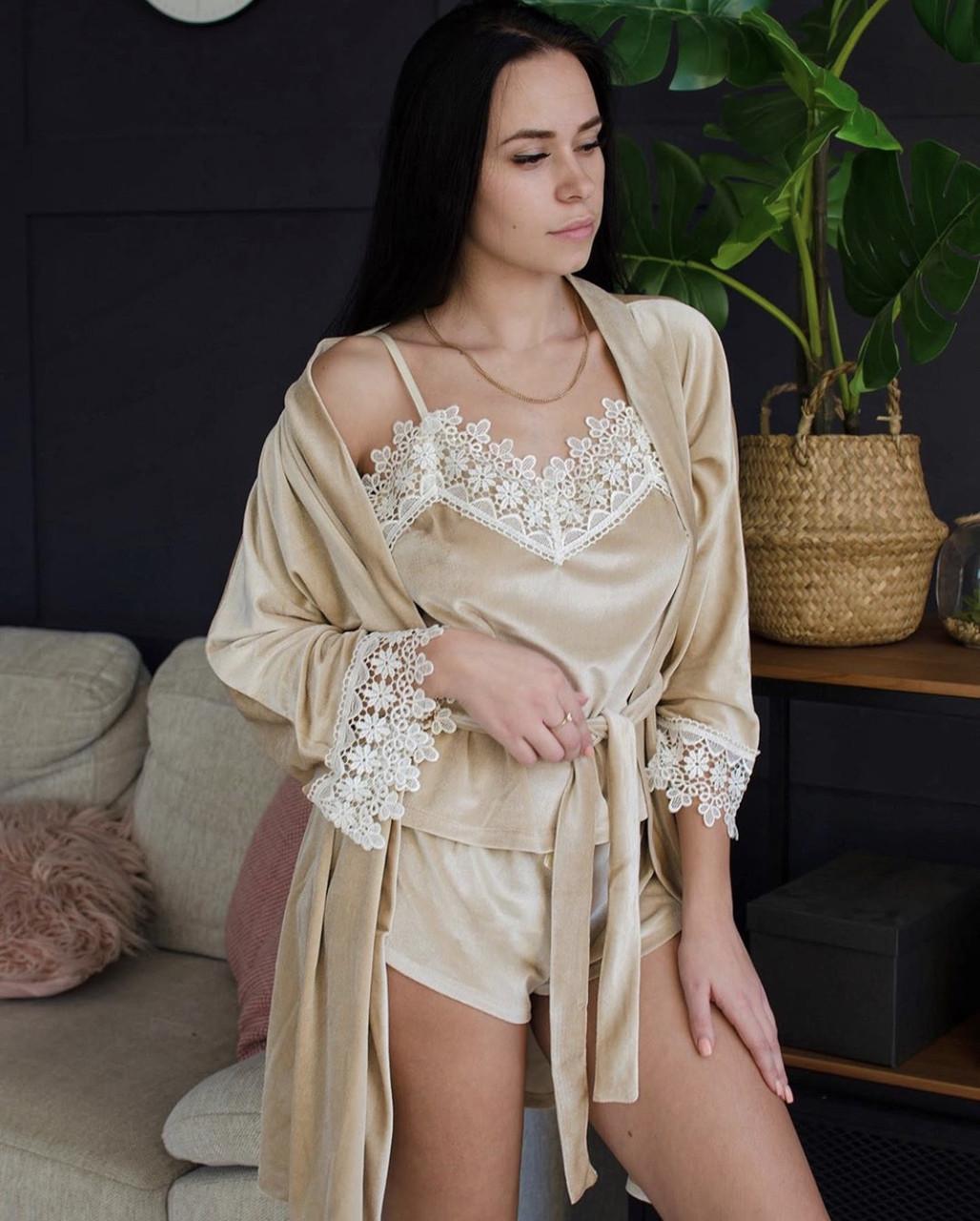 Бархатный набор (халат+пижама) бежевый