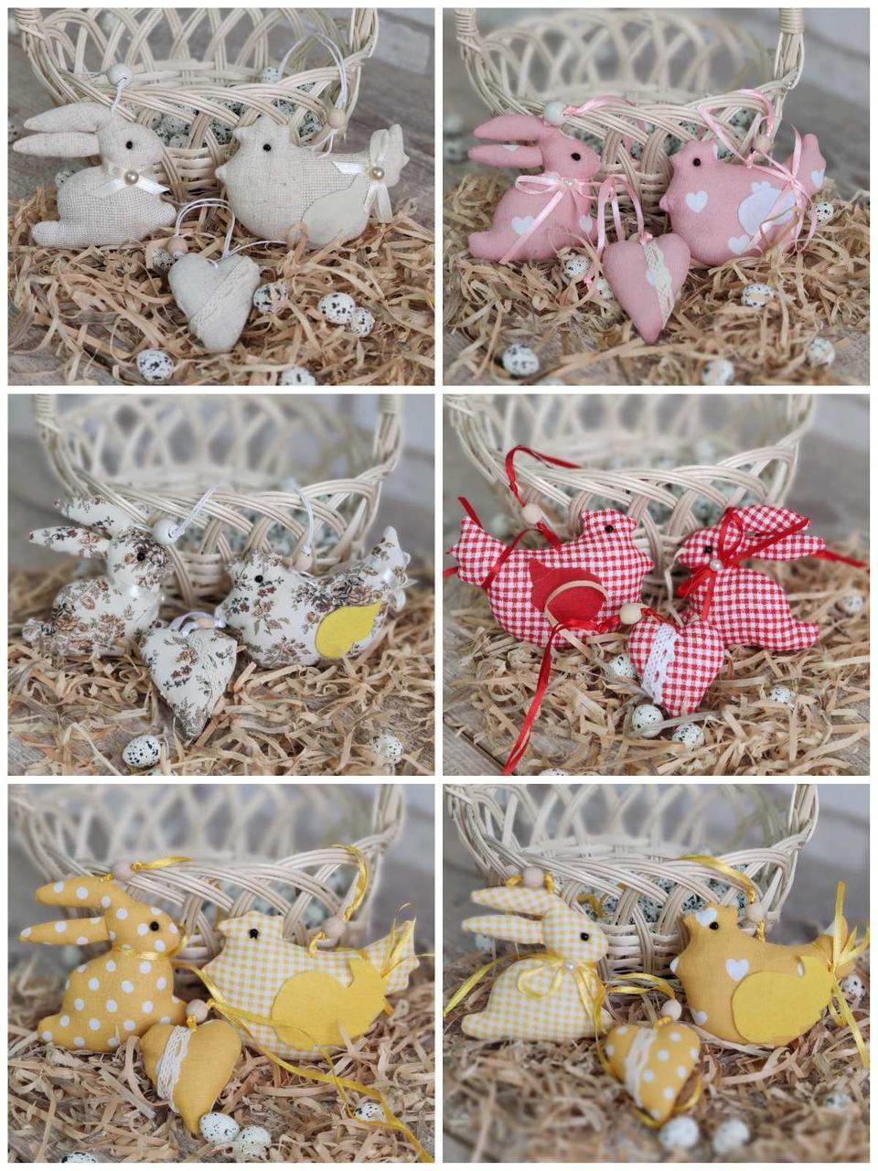"""Набір пасхальний """"Кролик, курочка, сердечко"""", для віночка, для корзини, для декора, 115/95 (ціна за1шт+20гр)"""