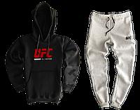 Трикотажный спортивный костюм UFC (premium-class) черный с серым