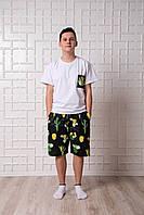 Мужской домашний костюм, мужская пижама (футболка и шорты) черно-белая Кактусы, размер L