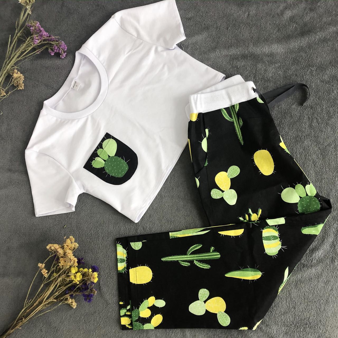Женский домашний костюм, женская пижама (футболка и брюки) черно-белая Кактусы, размер M