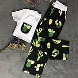 Женский домашний костюм, женская пижама (футболка и брюки) черно-белая Кактусы, размер M, фото 2