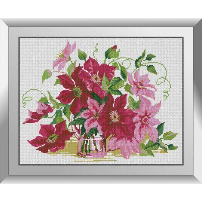 31145 Розовые клематисы Набор алмазной живописи
