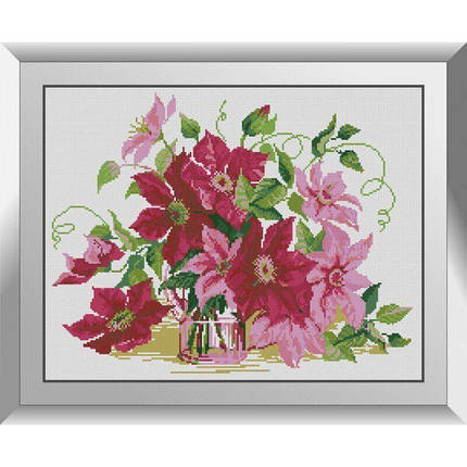 31145 Розовые клематисы Набор алмазной живописи, фото 2