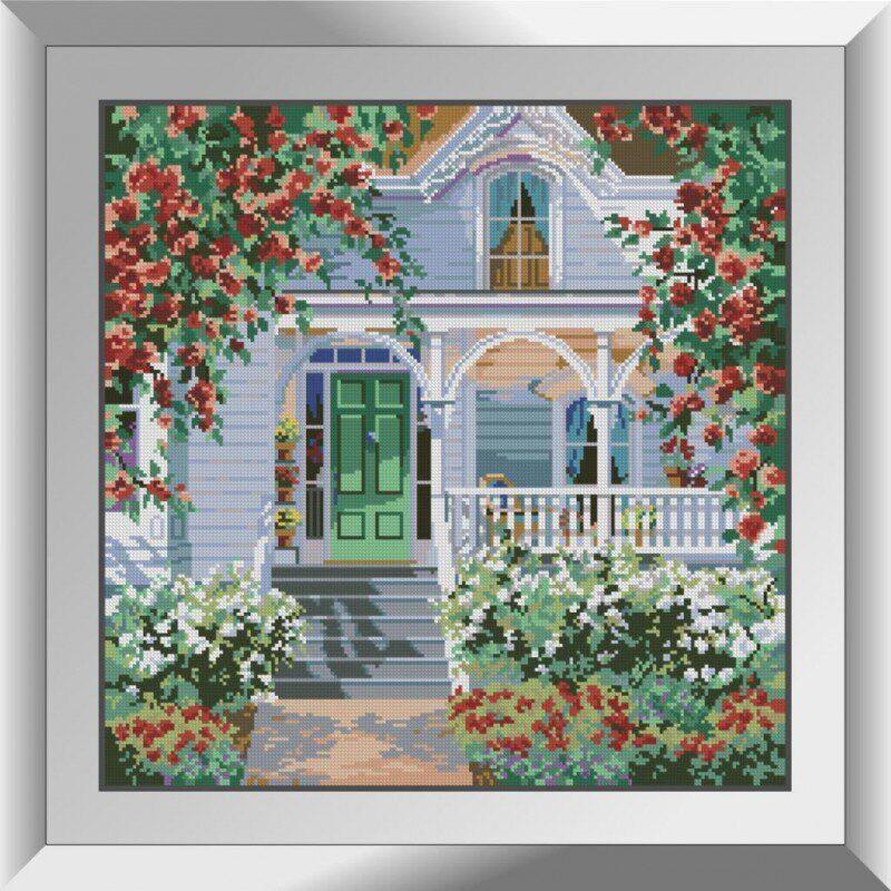 31151 Коттедж в красных розах Набор алмазной живописи