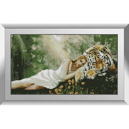 31168 Девушка с тигром Набор алмазной живописи, фото 2