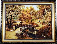 """Картина із бурштину, природа """"Місток"""" (30 x 40 см) B099"""