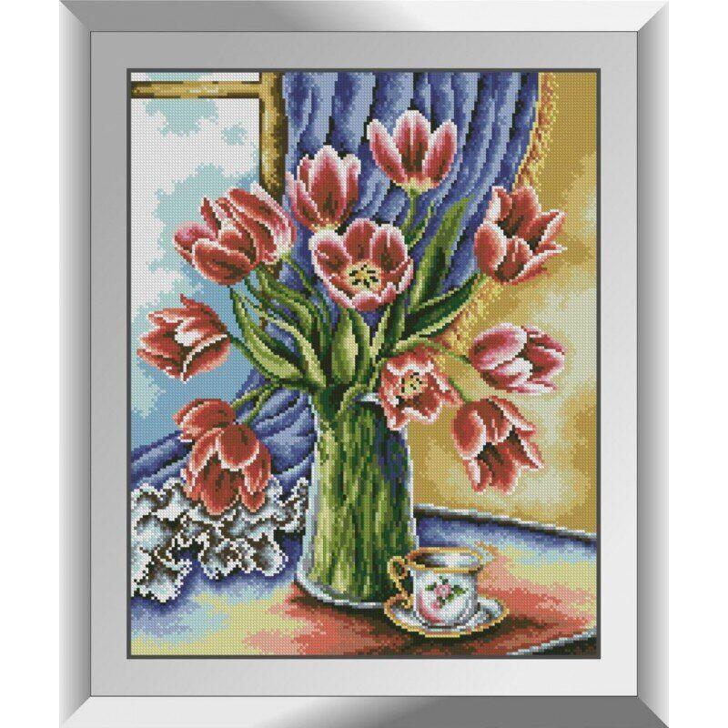 31270 Тюльпаны на окне Набор алмазной живописи