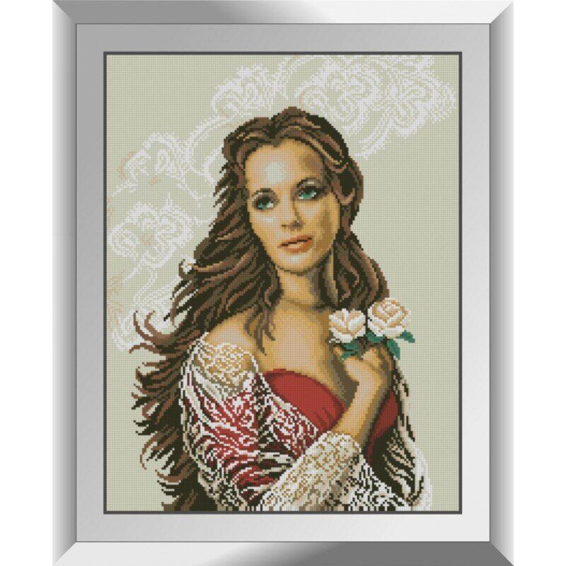 31297 Девушка с розами Набор алмазной живописи