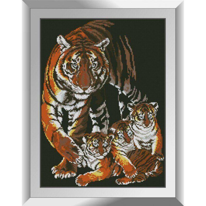 31349 Тигрята с мамой Набор алмазной живописи