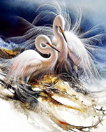 КДИ-0887 Набор алмазной вышивки Пара прекрасных журавлей. Художник Lee Bogle, фото 2