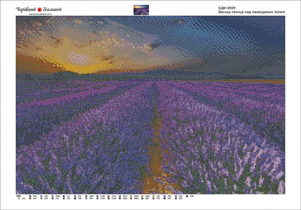 КДИ-0909 Набор алмазной вышивки Восход над лавандовым полем, фото 2