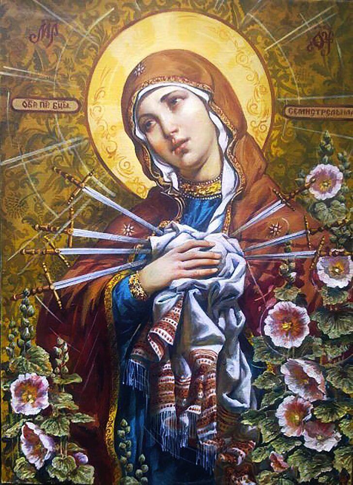 КДИ-0949 Набор алмазной вышивки Икона Богородица Семистрельная-2