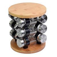 Набор для специй на деревянной подставке Kamille KM-7031-W + Бонус