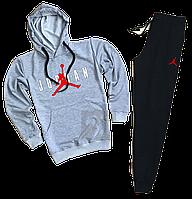 Трикотажный спортивный костюм Jordan (premium-class) черный с серым