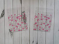 Пакет прозрачный Розовые сердца Размерпакета 10×10см +3 см самоклеющийся клапан