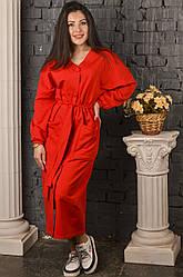 Платье-халат красное
