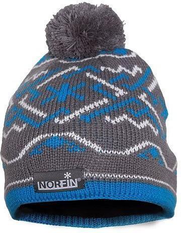 Шапка вязанная (подкладка флис) NORFIN NORWAY WOMEN GRAY/blue размер L