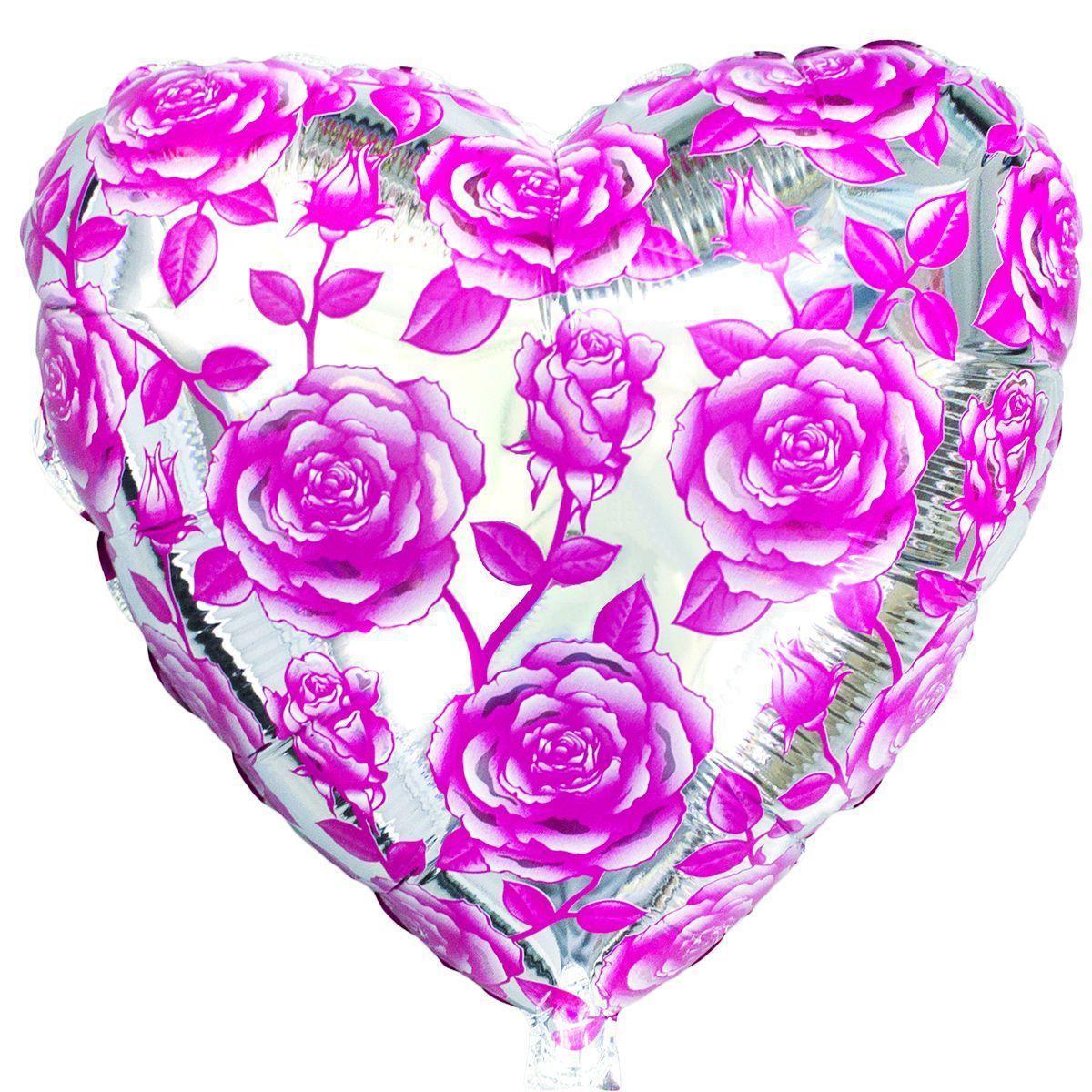 """Фольгована кулька серце з трояндами 18"""" Flexmetal"""