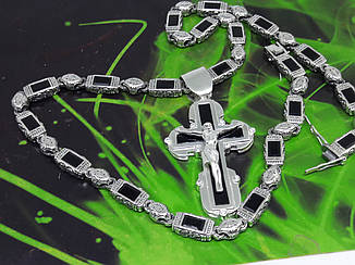 Серебряная цепочка и крест с камнями оникс