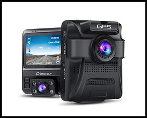 Автомобильный видеорегистратор Crosstour CR750 на 2 камеры, GPS, Night vision