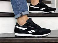 Мужские весенние кроссовки Reebok черные с белым 8990 (реплика)