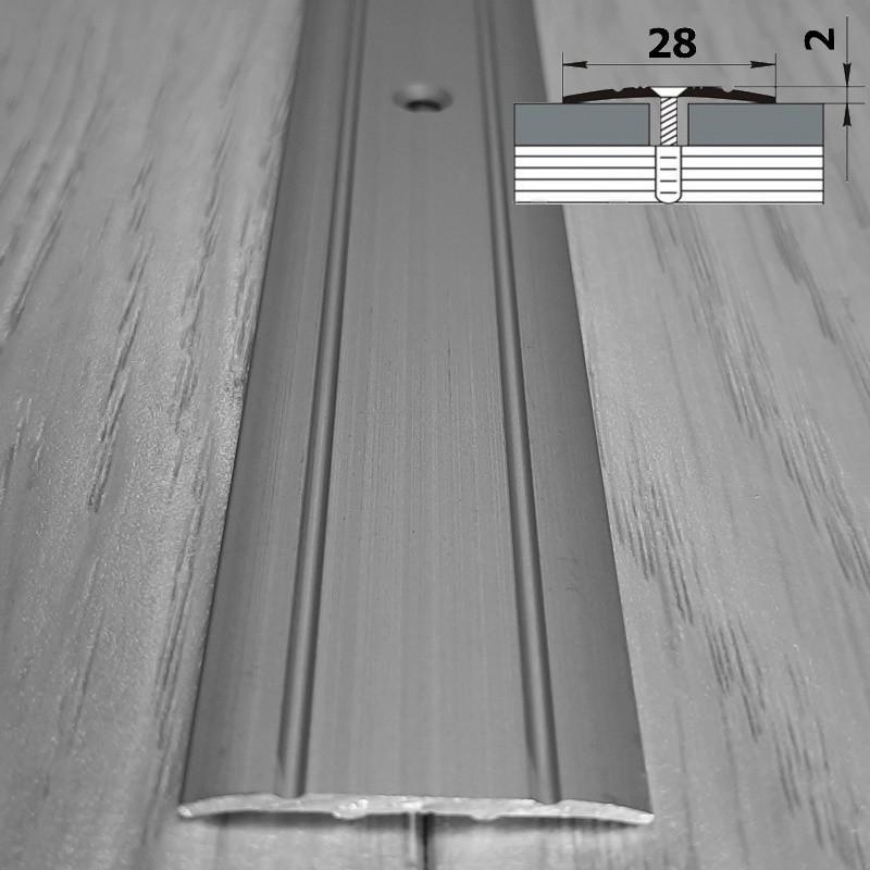 Стыкоперекрывающий напольный плоский прижимной порог ширина 28 мм